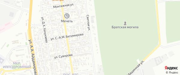 Светлая улица на карте Грозного с номерами домов