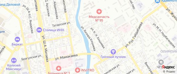 Артельная улица на карте Грозного с номерами домов