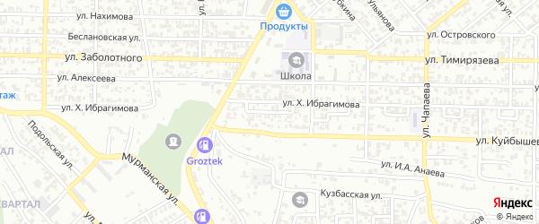 Вайнахский 4-й переулок на карте Грозного с номерами домов