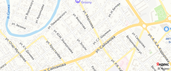 Улица им Белова на карте Грозного с номерами домов