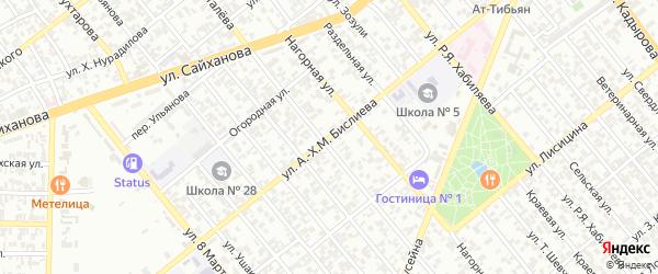 Фонтанная улица на карте Грозного с номерами домов