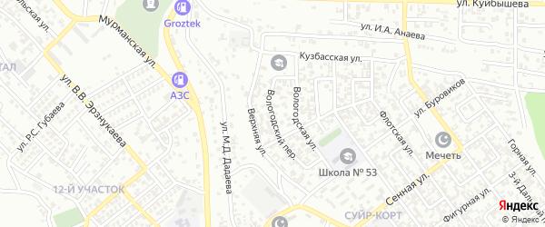 Вологодский 1-й переулок на карте Грозного с номерами домов