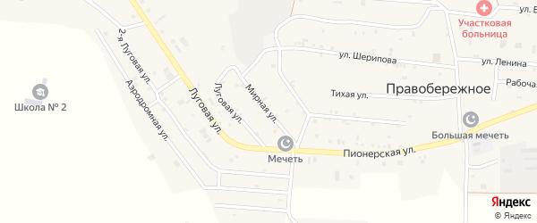 Мирная улица на карте Правобережного села с номерами домов