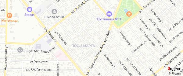 Вольная улица на карте Грозного с номерами домов