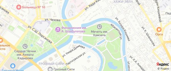 Вишневый переулок на карте Грозного с номерами домов