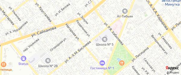 Раздельная улица на карте Грозного с номерами домов