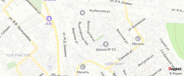 Вологодская улица на карте Грозного с номерами домов