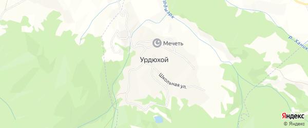 Карта села Урдюхоя в Чечне с улицами и номерами домов