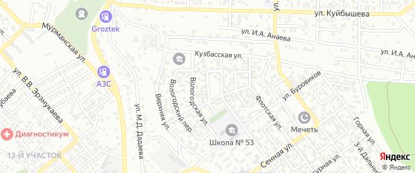 Степной переулок на карте Грозного с номерами домов