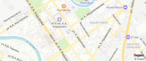 Улица А.Шерипова на карте Грозного с номерами домов