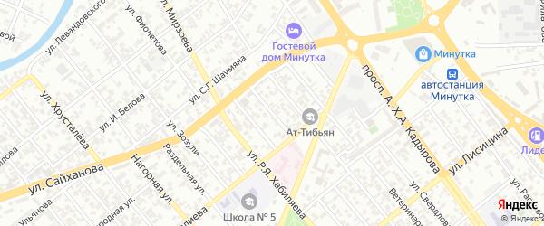 Окружной 1-й переулок на карте Грозного с номерами домов