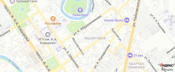 Кавказская улица на карте Грозного с номерами домов