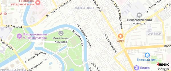 Улица имени Кунта-Хаджи Кишиева на карте Грозного с номерами домов