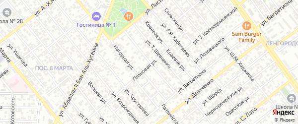 Улица им Луначарского на карте Грозного с номерами домов