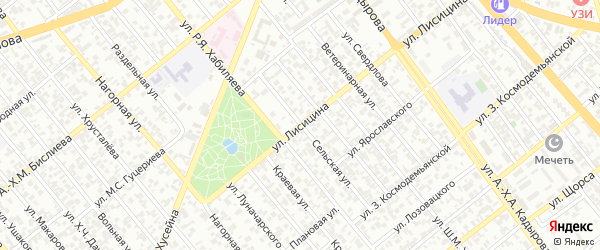 Улица Лисицина на карте Грозного с номерами домов