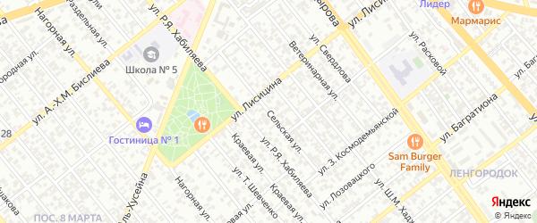 Сельская улица на карте Грозного с номерами домов