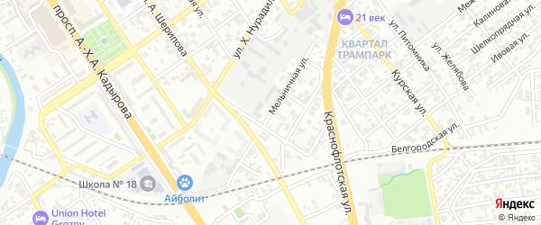 Мельничная 3-й переулок на карте Грозного с номерами домов