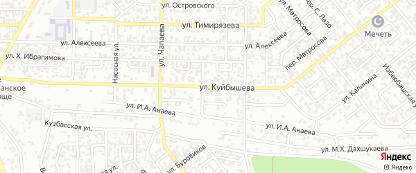Улица им Куйбышева на карте Грозного с номерами домов