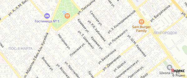 Краевая улица на карте Грозного с номерами домов
