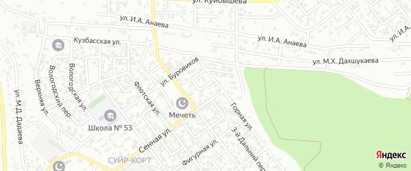 Горный 1-й переулок на карте Грозного с номерами домов