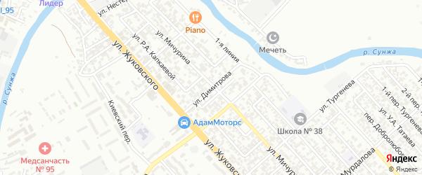 Улица им Димитрова на карте Грозного с номерами домов