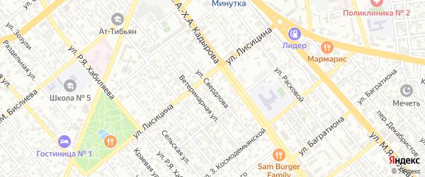 Улица Свердлова на карте Грозного с номерами домов