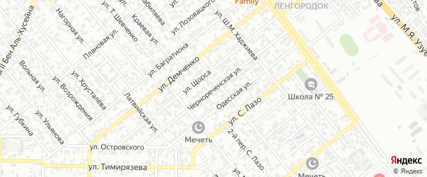 Чернореченская улица на карте Грозного с номерами домов