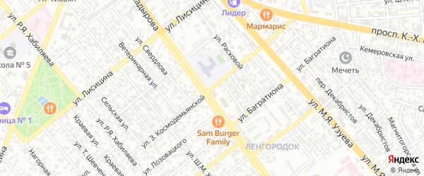 Улица им Космодемьянской на карте Грозного с номерами домов