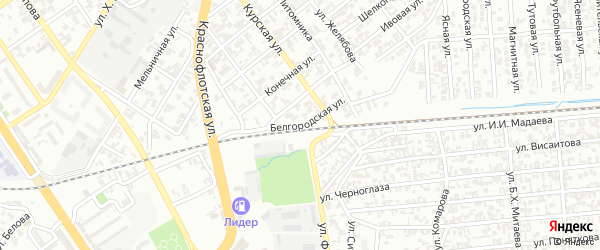 Белгородская улица на карте Грозного с номерами домов