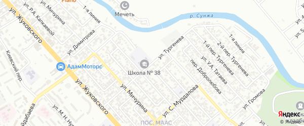 Улица Тургенева на карте Грозного с номерами домов