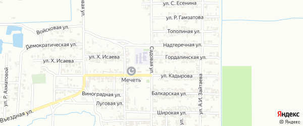 Садовая улица на карте Грозного с номерами домов