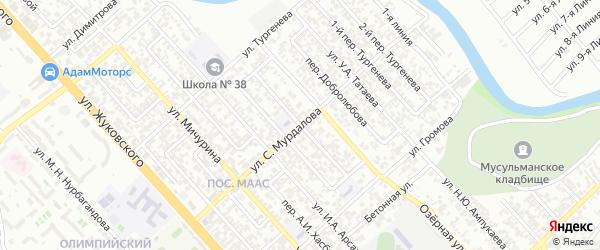 Джамбула 2-й переулок на карте Грозного с номерами домов