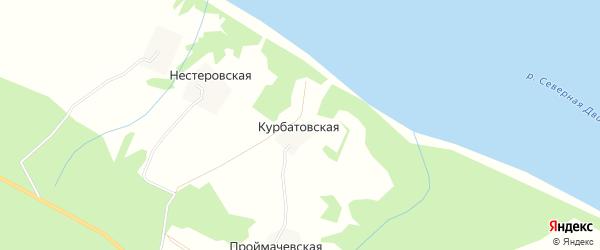 Карта Курбатовской деревни в Архангельской области с улицами и номерами домов