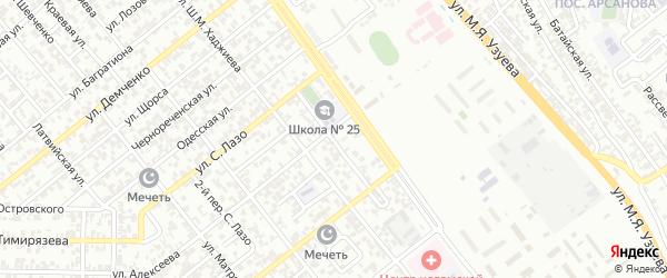 Насыпной 1-й переулок на карте Грозного с номерами домов