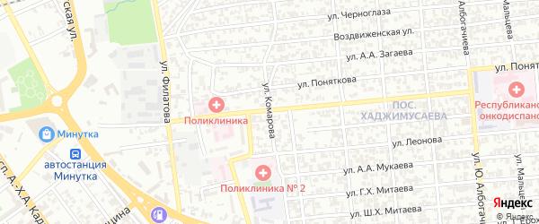 Улица Комарова на карте Грозного с номерами домов