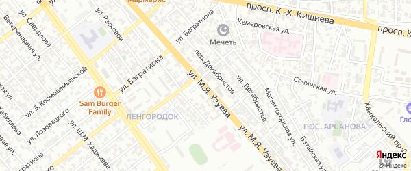 Улица Узуева на карте Грозного с номерами домов