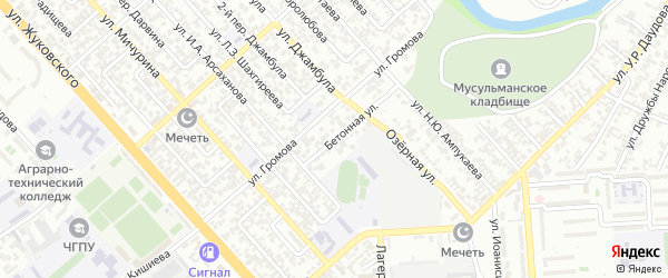 Петропавловское шоссе 3-й переулок на карте Грозного с номерами домов