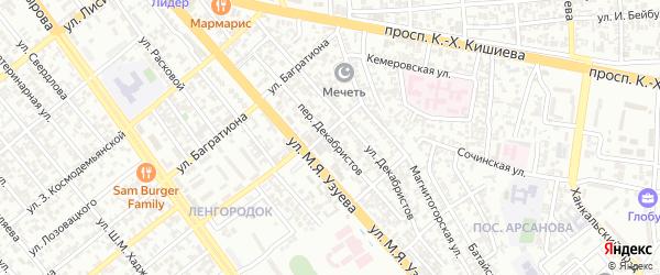 Переулок Декабристов на карте Грозного с номерами домов