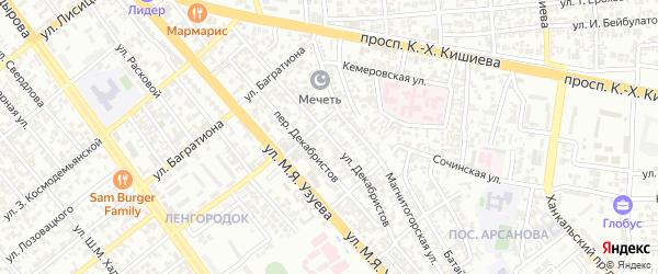 Улица Декабристов на карте Грозного с номерами домов
