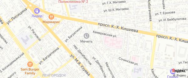 Кемеровский переулок на карте Грозного с номерами домов