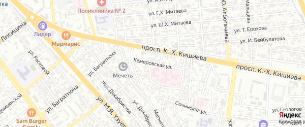 Кемеровская улица на карте Грозного с номерами домов