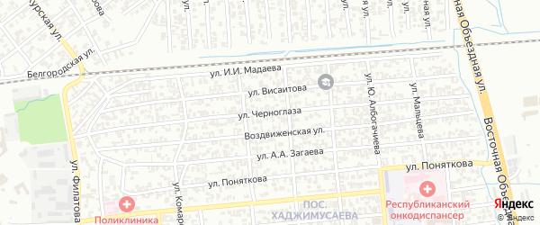 Улица Черноглаза на карте Грозного с номерами домов