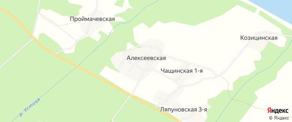 Карта Алексеевской деревни в Архангельской области с улицами и номерами домов