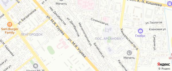 Гудермесский 5-й переулок на карте Грозного с номерами домов