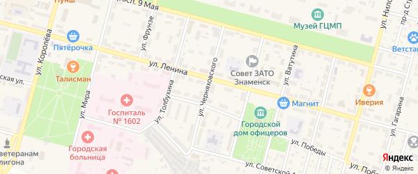 Улица Черняховского на карте Знаменска с номерами домов