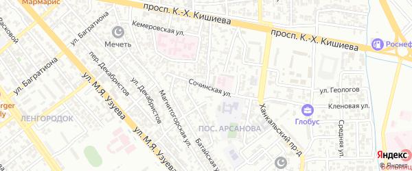 Гомельская улица на карте Грозного с номерами домов