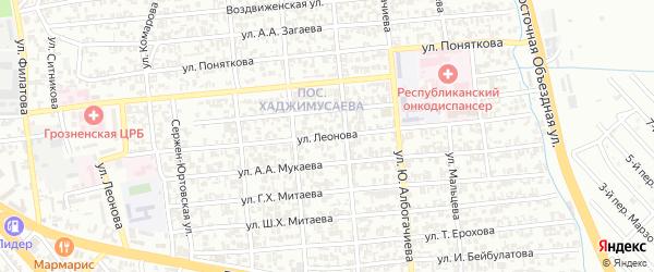 Улица Леонова на карте Грозного с номерами домов