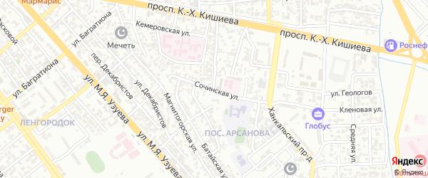 Сочинская улица на карте Грозного с номерами домов