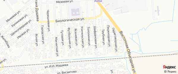 Тополинная улица на карте Грозного с номерами домов