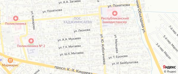 Улица им Мордовцева на карте Грозного с номерами домов